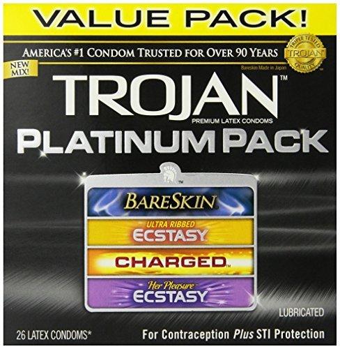 Trojan Condom Platinum Pack Lubricated, 26 Count (Pack of 4 (26 ct ea))