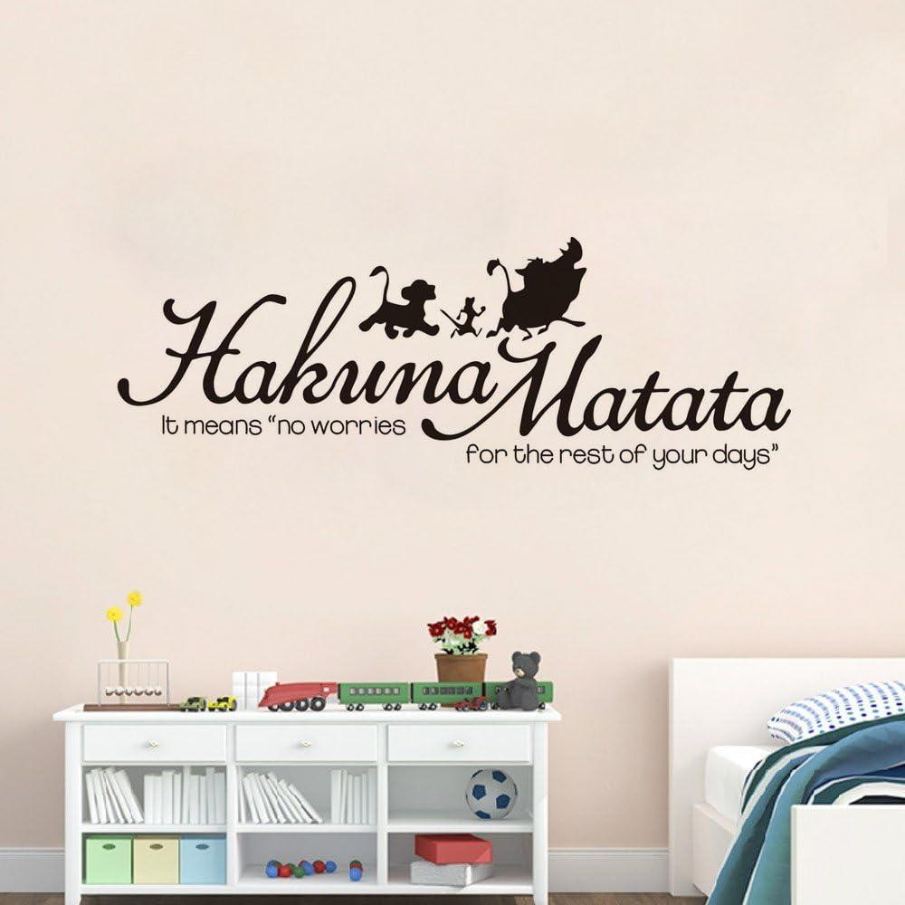 Hakuna Matata Wall Decal - Lion King Quote No Worries Wall Art Sticker - Timon Pumbaa and Simba Silhouette for Nursery Kids Room Decor