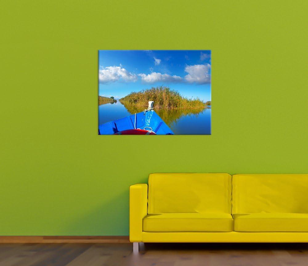 Bilderdepot24 Cuadros en Lienzo Barco Azul en la Albufera - Valencia España 90x60 cm 3 Piezas - Enmarcado Listo Bastidor Imagen. Directamente Desde el Fabricante: Amazon.es: Hogar