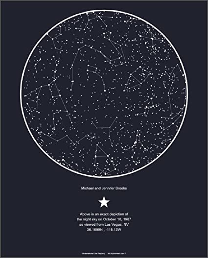 What Is A Star Map.Amazon Com My Sky Moment Map Of The Night Sky Midnight Blue Home
