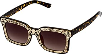 Sky Vision Rectangle Sunglasses for Unisex, Brown Lens, Z001C4