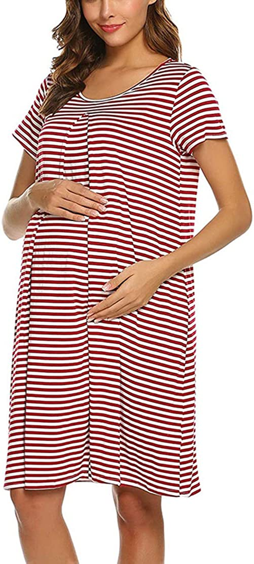 Maternity Nightdresses /& Nightshirts Nursing Shirt Gown Breastfeeding Pyjamas Summer Stripe Pregnancy Sleepwear Nightwear for Home Hospital