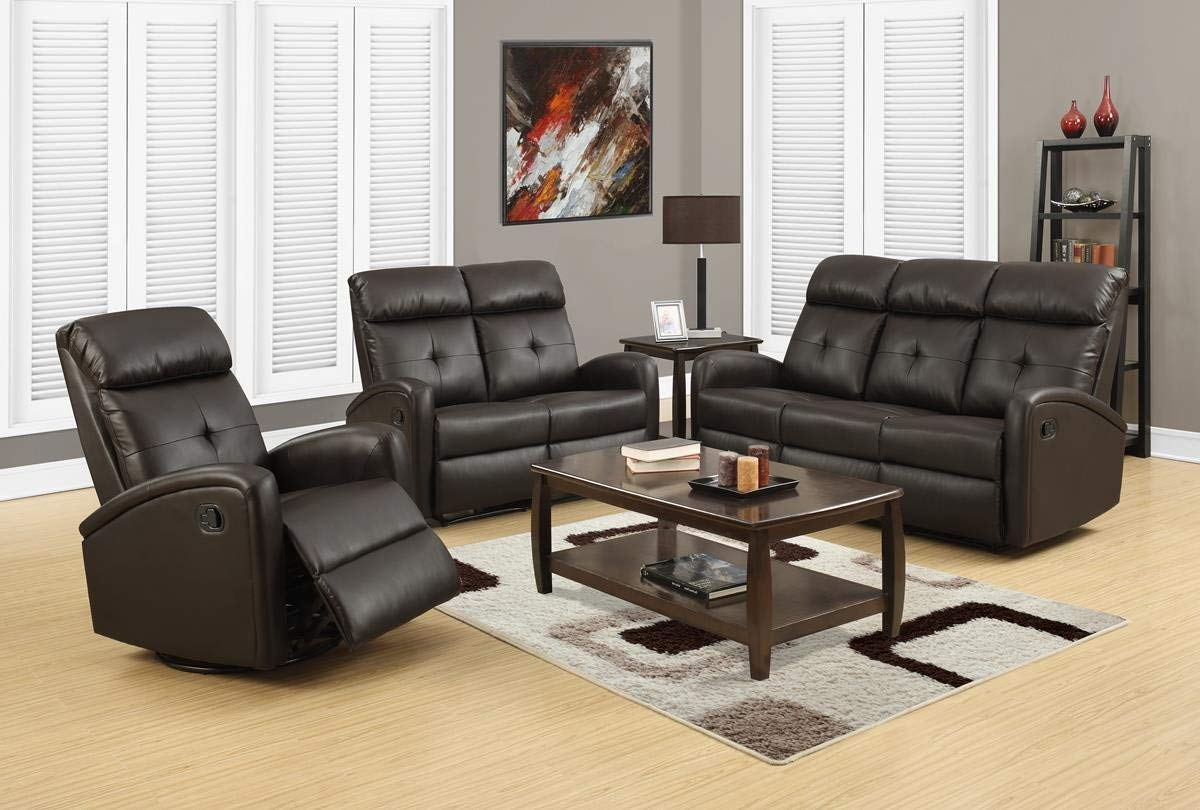 Monarch Specialties I 88BR-2 Reclining Loveseat in Dark Brown Bonded Leather