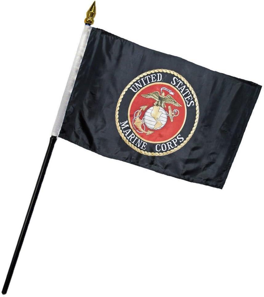 """AES Marines USMC Black Marine Corps Flag 4""""x6"""" Desk Set Table"""