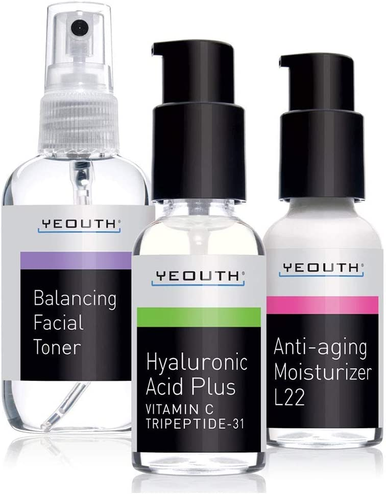 Best Anti Aging 3 Pack Skin Care System by YEOUTH, Professional Grade Hyaluronic Acid Serum, Patented L22 Face Moisturizer, and Balancing Face Toner - Anti Aging Serum Kit - 100% GUARANTEED
