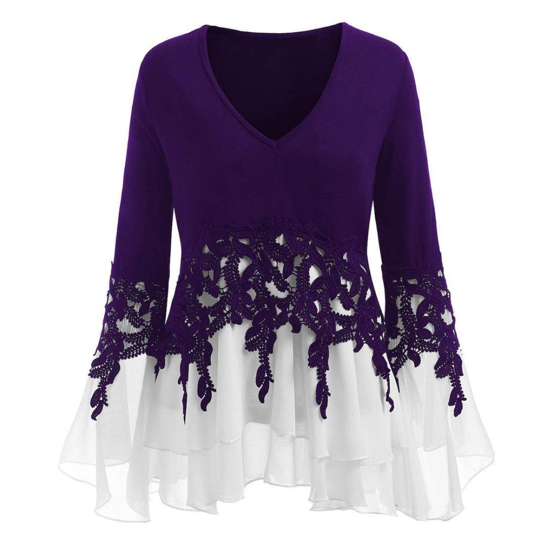 Minisoya Women Long Sleeve V-Neck Casual Applique Patchwork T-Shirt Flowy Chiffon Blouse Pleated Tunic Tops Shirt (Purple, XL)