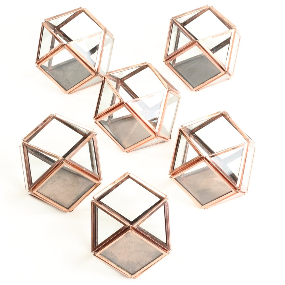 Koyal Wholesale Glass Geometric Votive Candle Holders Bulk Set Of 6