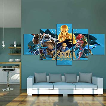 5 Panel Framed Canvas Wall Art Home Decor Legend Of Zelda Hyrule