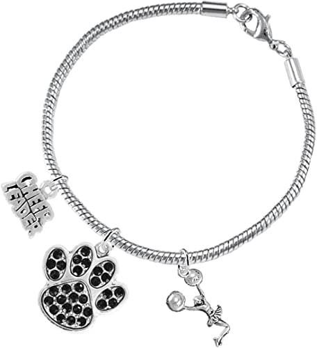Lead and Cadmium Free Red Paw Crystal Cheer 3 Charm Bracelet Safe-Hypoallergenic Nickel