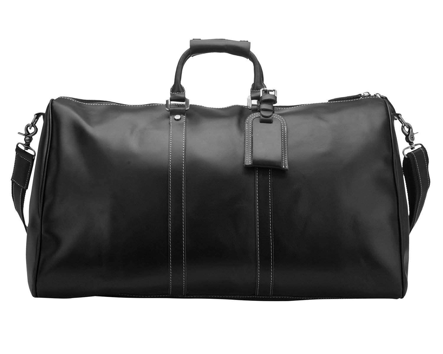 24e730505 BAIGIO Men Travel Bag Genuine Leather Tote Shoulder Luggage Weekend Duffle  Overnight Bags 23
