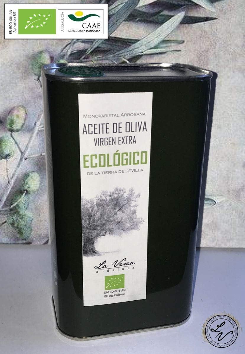 Aceite de oliva virgen extra ECOLÓGICO certificado PREMIUM. Lata 1 Litro. La Verea Andaluza. Proviene de una sola finca, Monovarietal 100% Arbosana.
