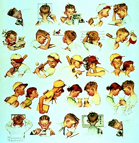 Day In The Life Of A Little Boy 1952 Norman Rockwell Print - 8 in x 9 in - Matted to 11 in x 14 in - Mat Colors Vary