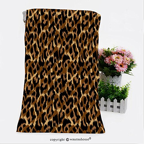 VROSELV Cotton Microfiber Bathroom Bath Towel-leopard pattern vector illustration seamless print wallpaper background texture Custom pattern of household products(19.7