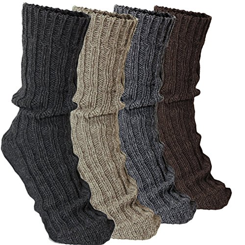 BRUBAKER 4 Pairs Thick Cashmere Socks - Mixed Colors - Size EU 43-46 / US 9-11.5