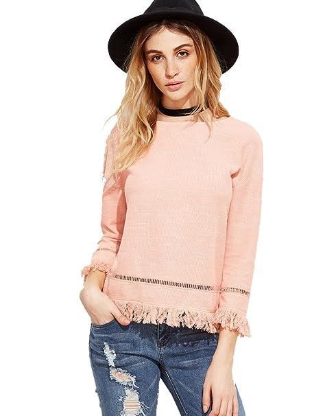 Shein Camisas - Casual - Manga Larga - para Mujer Rosa L