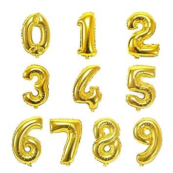 Globo Número Gigante en Metalizado Ideal para Fiesta de cumpleaños y Aniversarios - 110 cm - Hinchable (Rosa, 1)