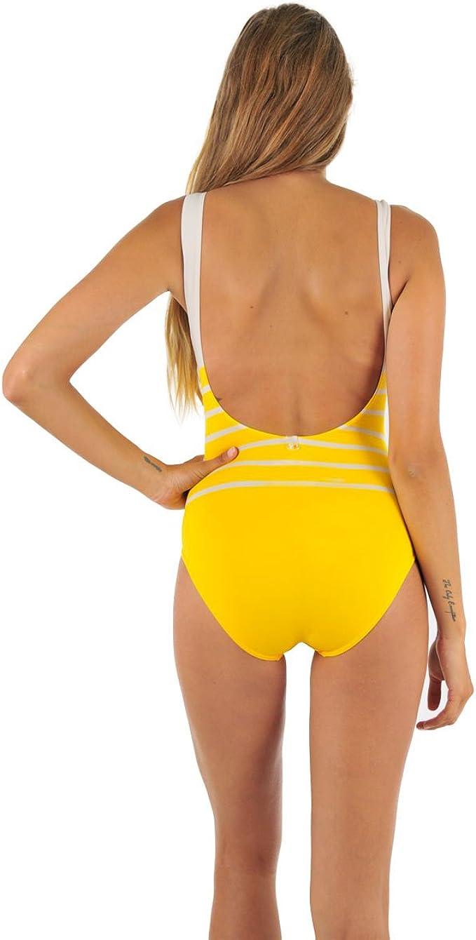 Maillot de bain une pièce marinière jaune Aiza: