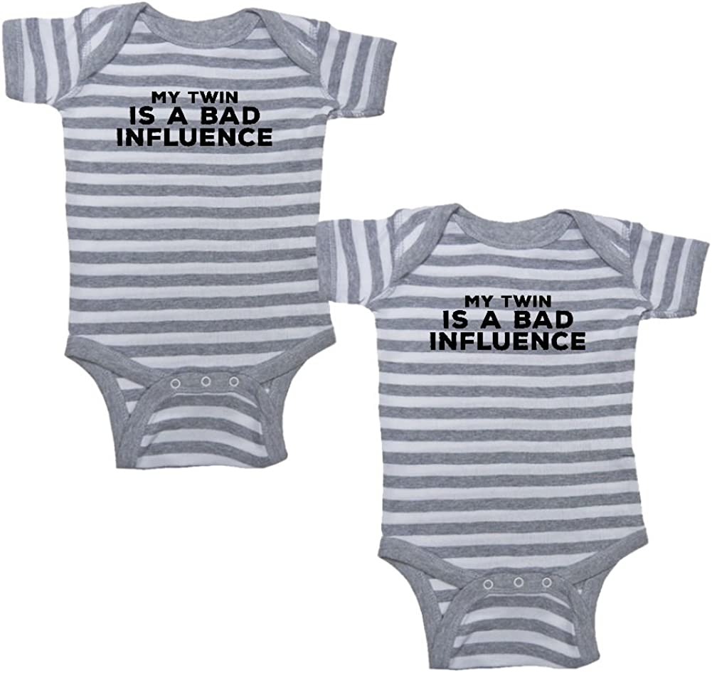 We Match Unisex Baby Twin Set 2-Pack My Twin is A Bad Influence Bodysuits