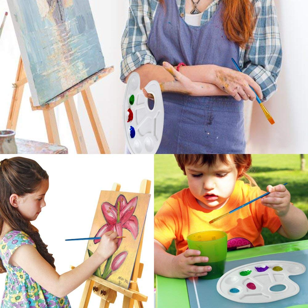 20 St/ück Paint Pinsel Set mit 2 St/ück Paint Tray Palette FineGood Runde Spitz Spitze Nylon Haar Paintbrush f/ür Kinder Studenten Anf/änger Braun