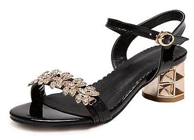 2b7e8915ad62 SHOWHOW Women s Stylish Rhinestone Opentoe Buckle Ankle Strap Medium Block  High Heel Sandals Black 4 B