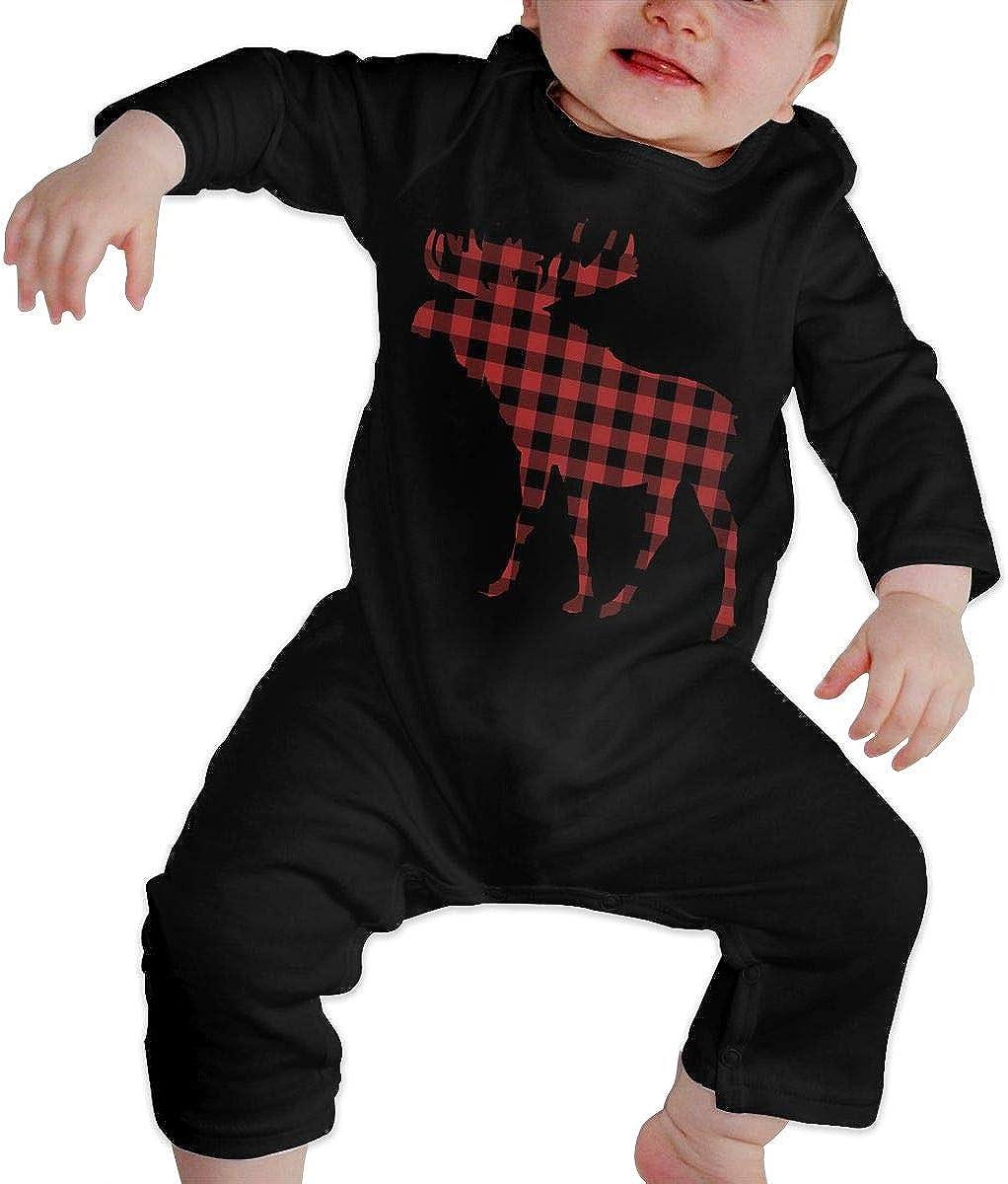 Red Buffalo Plaid Moose Printed Newborn Baby Boy Girl Bodysuit Long Sleeve Pajamas Black