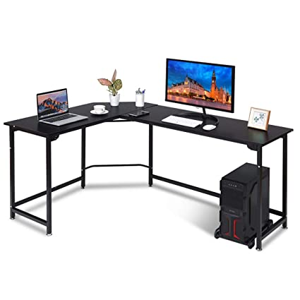 Good Amazon.com: Tangkula Computer Desk L Shaped Corner Writing Table Smooth Top Home  Office Workstation Modern Study Laptop Desk With CPU Stand (Black): Kitchen  ...