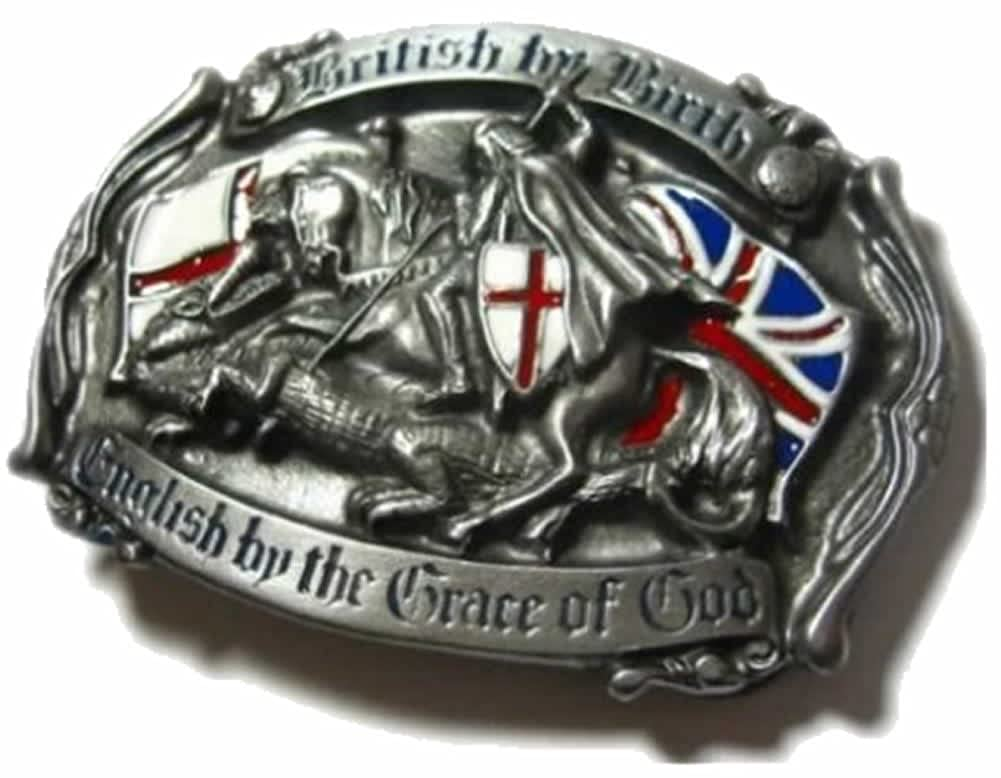 'British by Birth - English by the Grace of God' BELT BUCKLE + display stand ThePresentStore