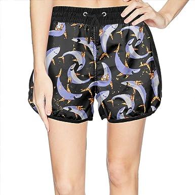Womens Swim Trunks Pants Crazy Cute Shark Cool Swim Shorts at Amazon ... b138acd554
