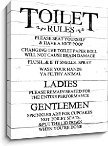 Toilet Rules Signs Canvas Wall Art Funny Rustic Farmhouse Bathroom Decor | Wood Grain Background HD Printing on Canvas | Vintage Plaque Quote Wall Decoration (12X15 Inch,White)