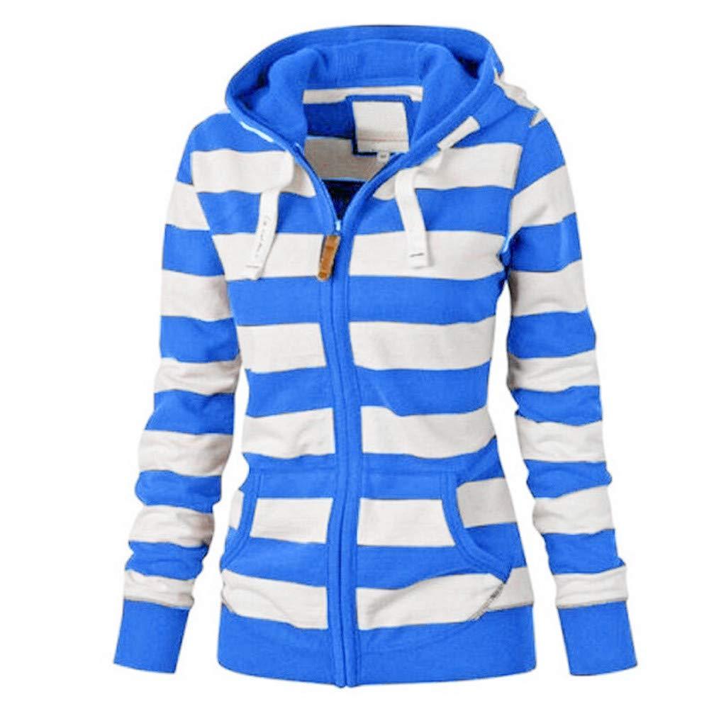 LANSKIRT Damen Zipper Tops Hoodie mit Kapuze Sweatshirt Mantel Jacke Lä ssiger dü nner Pullover Blau)