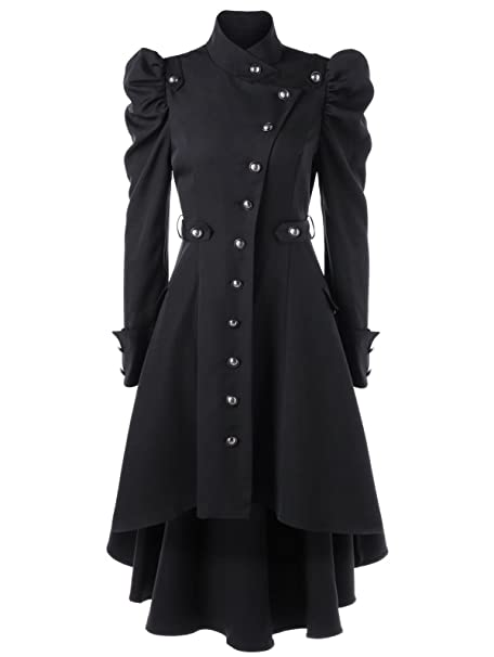 2294eccd301 Sunshinebeauty Gothic Vintage Womens Steampunk Victorian Swallow Tail Long  Trench Coat Jacket (Small