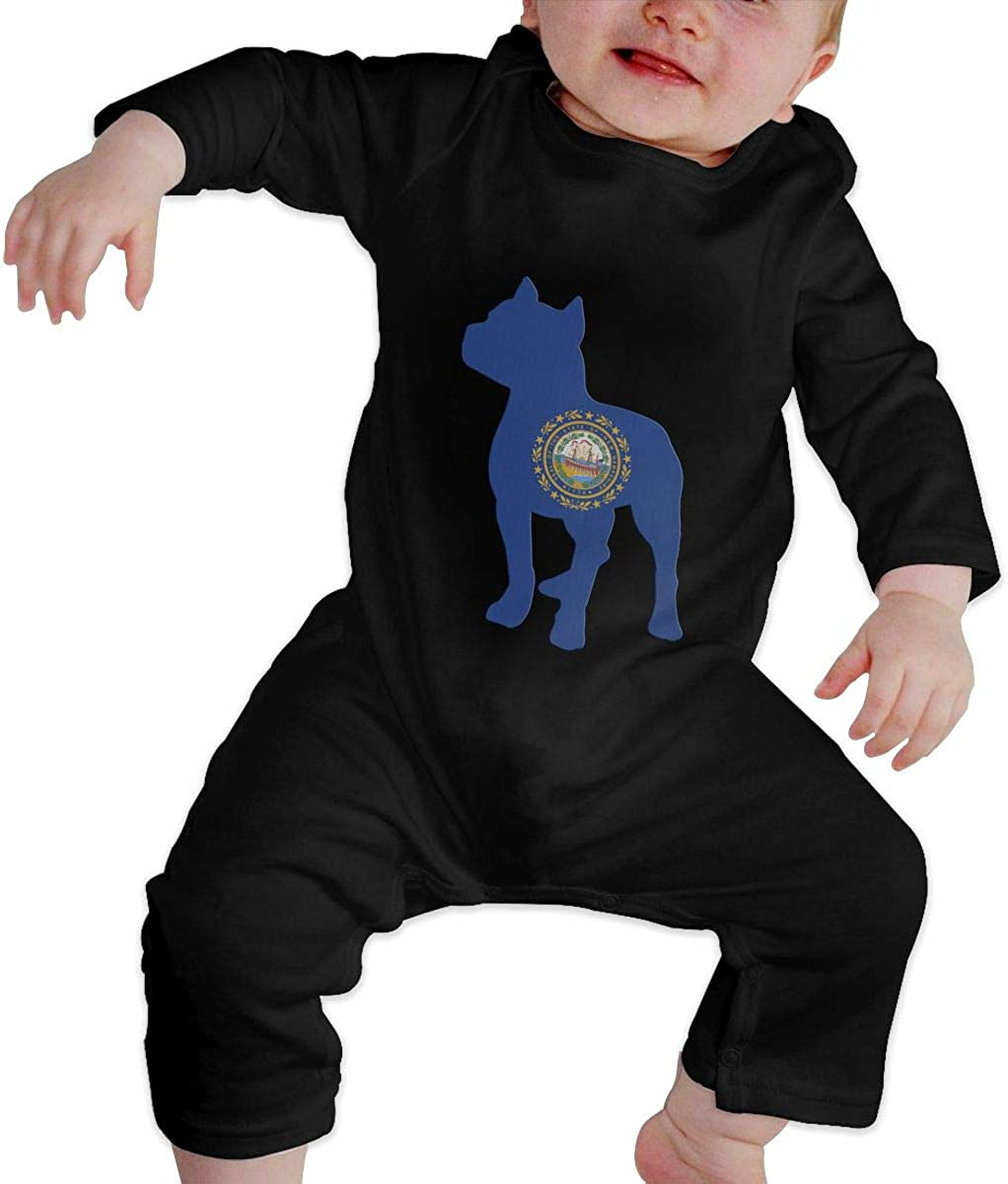 YELTY6F Patriotic Pitbull New Hampshire State Flag Printed Baby Boys Girls One-Piece Suit Long Sleeve Romper Black