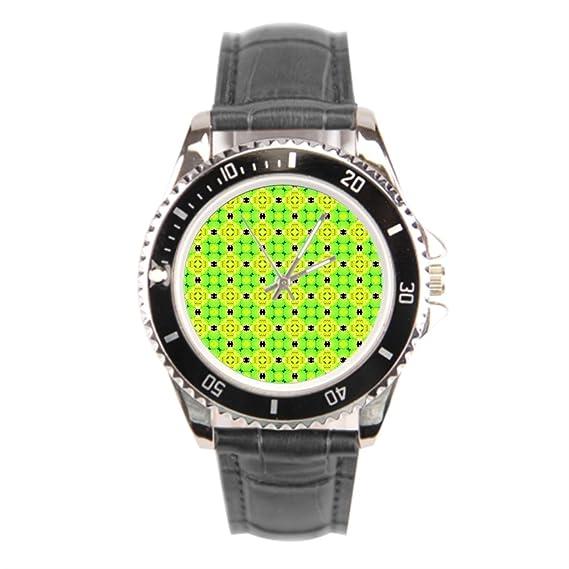 kosmore Floral negro correa de cuero reloj de pulsera para mujer moderno para hombre correa de