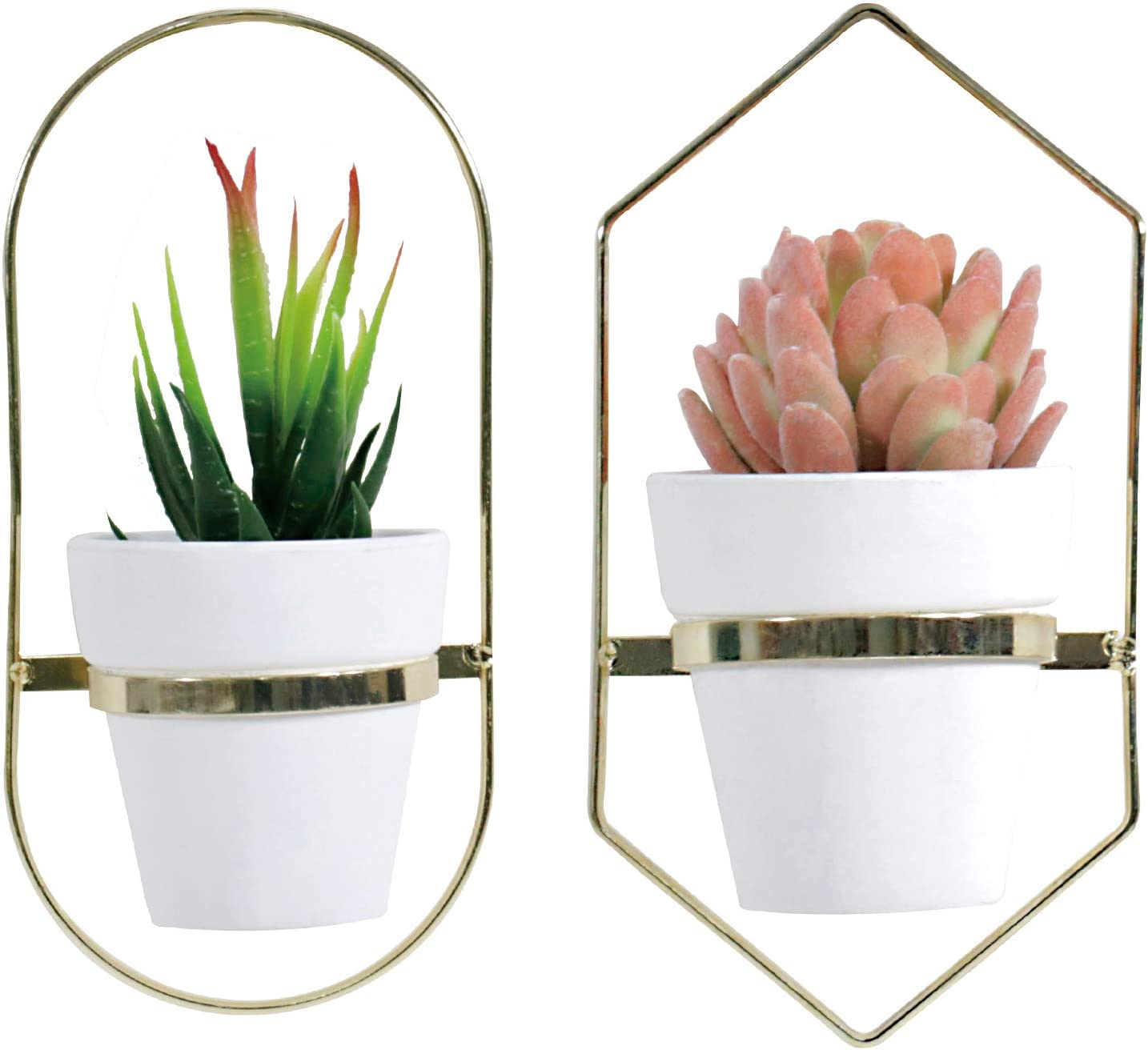LITA Golden Metal Hanging Planter Clay Pots & White Geometric Wall Decor Container Hanging Planter Holder Modern Planter Flower Pot for Home Decor Indoor Outdoor Use, White/Clay Pots