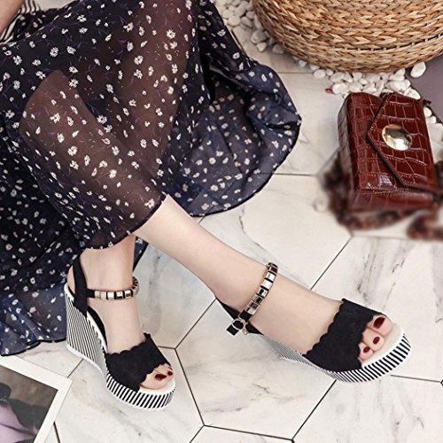 Xjp Women Summer Open-Toe Platform High Heels Wedge Sandals with Buckle Black yTjwZ