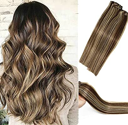 Human Hair Extensions Clip In Dark Brown To Blonde Highlights 2p613 Double Weft Brazilian Hair Clip On Balayage Ombre Hair Extensions 15 Inch 7 Pcs