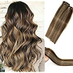 Human Hair Extensions Clip in Dark Brown to Blonde Highlights 2P613 Double Weft Brazilian Hair Clip on Balayage Ombre Hair Extensions 22 inch 7 PCS Full Head Silky Straight 70g Remy Hair