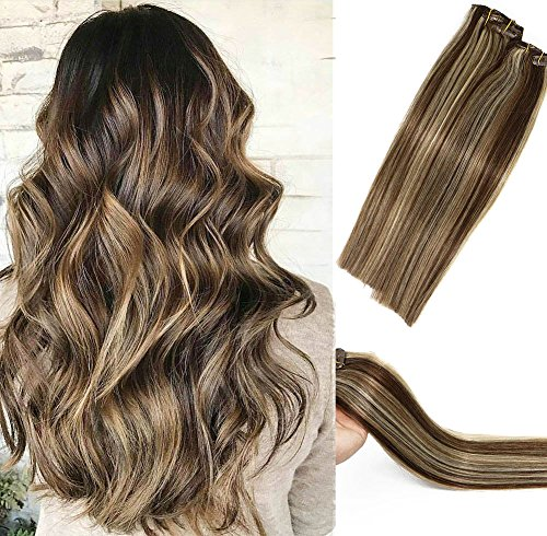 Human Hair Extensions Clip in Dark Brown to Blonde Highlights 2P613 Double Weft Brazilian Hair Clip on Balayage Ombre Hair Extensions 15 inch 7 PCS Full Head Silky Straight 70g Remy Hair2