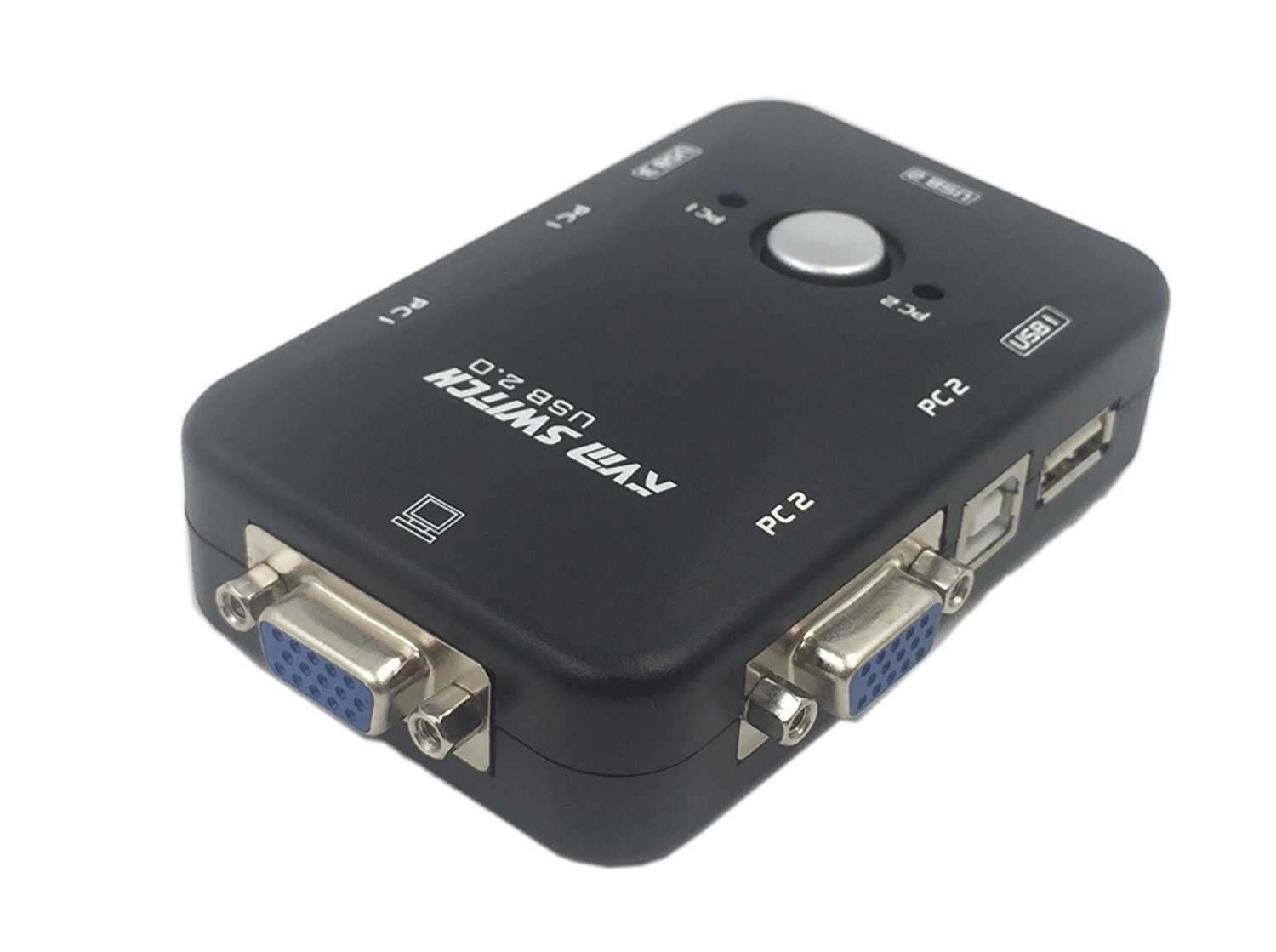 CERRXIAN All-in-one Mini 2 Port USB 2.0 KVM Manual Switch Box for PC Sharing Monitor Video Mouse Keyboard Control