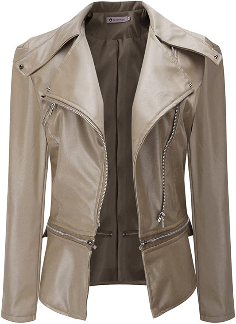 HANYI Womens PU Leather Jacket With Slim Fit Tailoring Short Zip Jacket Parka Outwear