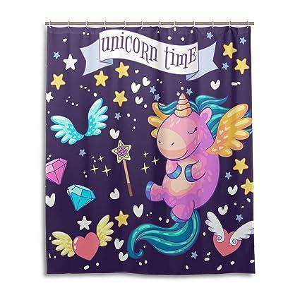 Wamika Custom Unicorn Wings Love Heart Star Shower Curtain 60 X 72 InchCartoon