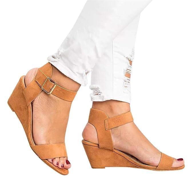 9dd4bb81a1f Sandalias de Mujer de Cuña Verano Casual Moda Damas Color sólido Sandalias  Correa de Hebilla de tacón Zapatos Romanos Sandalias de Vestir Mujer ...