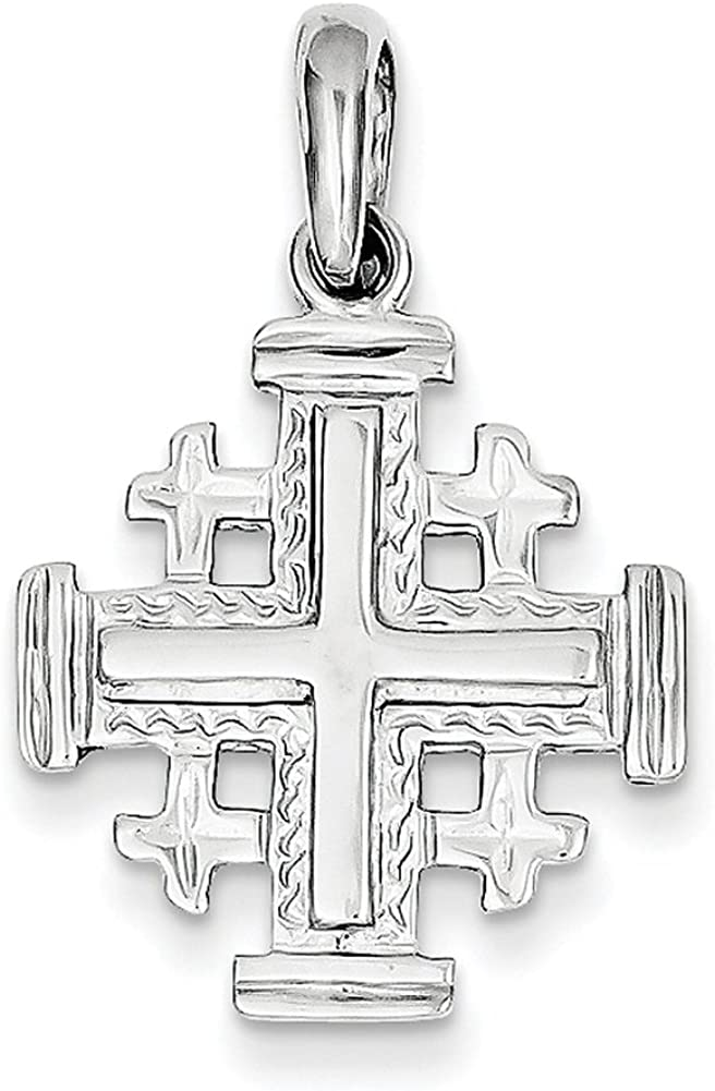 Lex /& Lu 14k Rose Gold Rhodium Hollow Cross Pendant