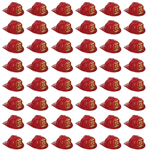 Beistle 66777-5 48-Pack Plastic Junior Firefighter Hats, Red