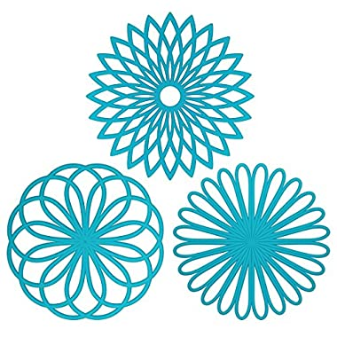ME.FAN™ Silicone Multi-Use Flower Trivet Mat(set of 3 Pack) Premium Quality Insulated Flexible Durable Non Slip Hot Pads and Coasters Cup Blue