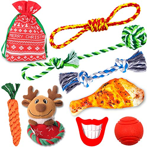 FAYOGOO Christmas Dog Rope Toy, 8-Pack Christmas Stocking Toy Gift Set, Cotton Rope Knot Chew Toy for Aggressive Chewers Teething Cleaning and Training