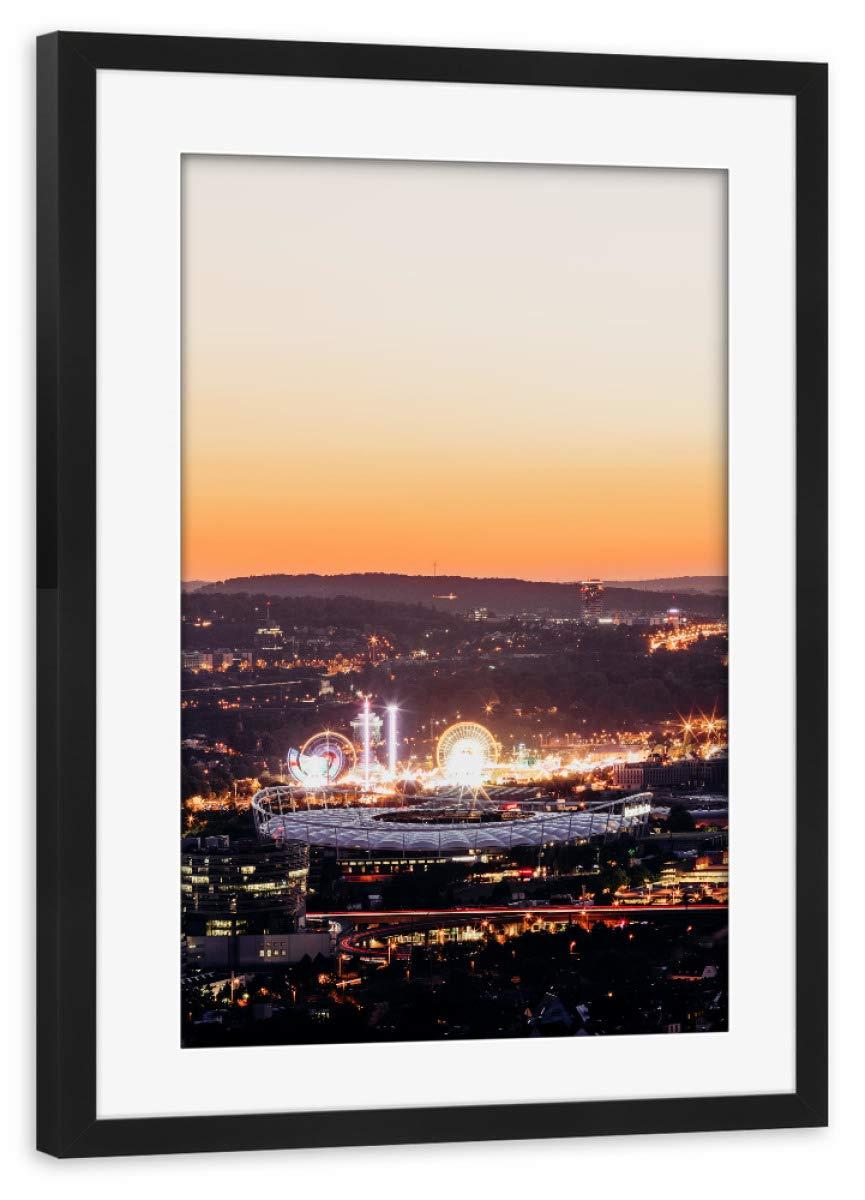 ArtboxONE Poster mit Rahmen schwarz 60x40 cm Bad Cannstatt Skyline von Cornelius Bierer - gerahmtes Poster