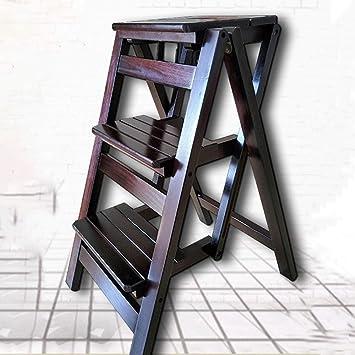 WCS Silla de escalera de doble uso de madera maciza americana Escalera de espiga Silla plegable