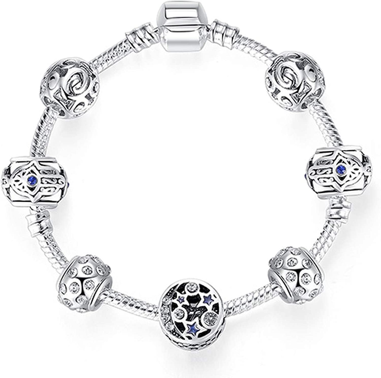 Silver 925 Crystal Four Leaf Clover Clear Beads Charm Bracelet Bangle For Women PS3860 19cm