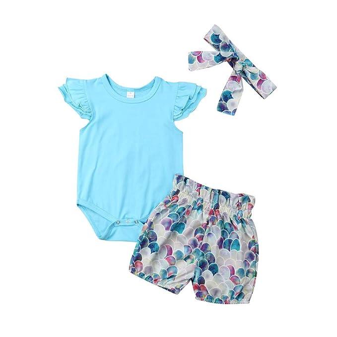 Wang-RX Bebé recién Nacido niña Trajes de Verano Ropa Sirena ...